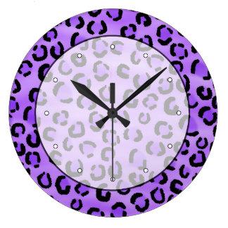 Purple Leopard Print Pattern. Large Clock