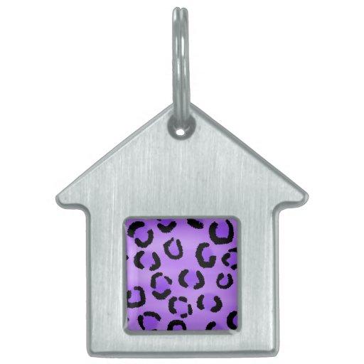 Purple Leopard Print Pattern. Pet ID Tags