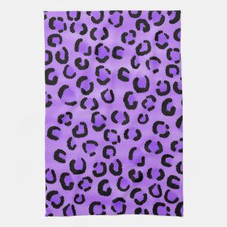 Purple Leopard Print Pattern. Towel