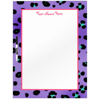Purple Leopard Print & Pink Large Dry Erase Board