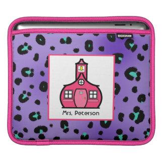 Purple Leopard Print & Pink Teacher iPad Sleeve