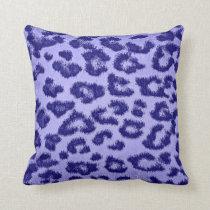 Purple Leopard Print Skin Fur Throw Pillow