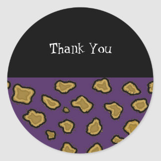 Purple Leopard Print Thank You Sticker