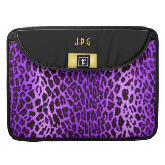 Purple Leopard Print with Black & Gold Sleeve For MacBooks