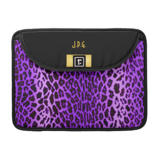 Purple Leopard Print with Black & Gold Sleeves For MacBooks