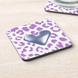 Purple Leopard Print With Heart Design Drink Coaster