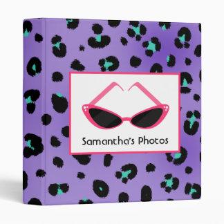 Purple Leopard Print With Retro Pink Sunglasses Binders