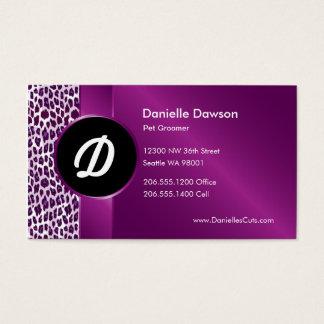 Purple Leopard & Ribbon Business Card