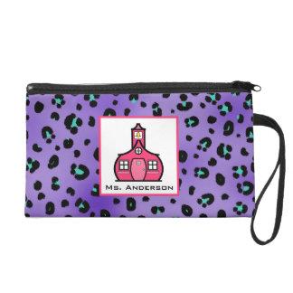 Purple Leopard & Schoolhouse Wristlet For Teachers
