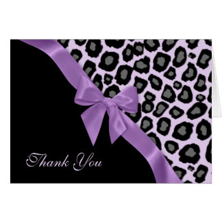 Purple Leopard Spots and Ribbon Thank You Stationery Note Card