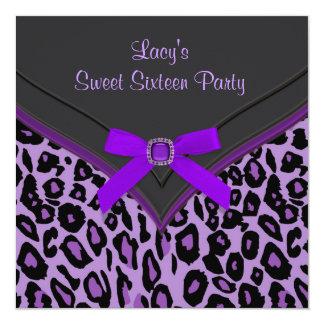 Purple Leopard Sweet 16 Party Card