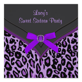 Purple Leopard Sweet 16 Party Card