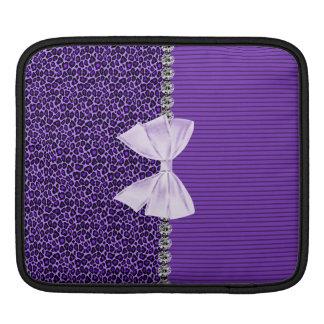 Purple Leopard with elegant bow faux diamond bling iPad Sleeve
