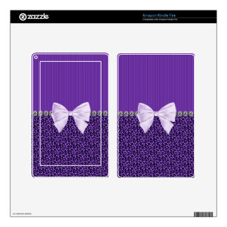 Purple Leopard with elegant bow faux diamond bling Skins For Kindle Fire