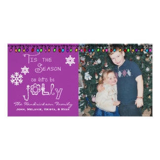 Purple Let's Be Jolly Christmas Holiday Photo Card