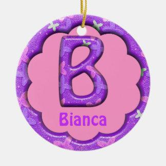 Purple Letter B Ornament w Butterflies~Custom Name