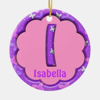 Purple Letter I Ornament w Butterflies~Custom Name
