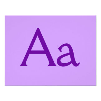 Purple Letter or Text on T shirts and Products Personalized Invites