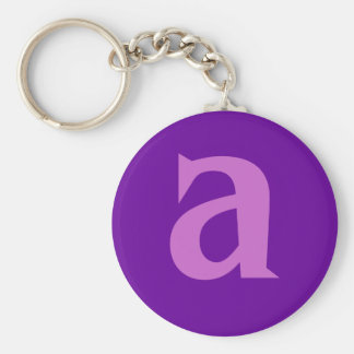 Purple Letter or Text on T shirts and Products Basic Round Button Keychain