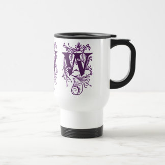 Purple Letter 'W' Wrapped in Vines - Mug