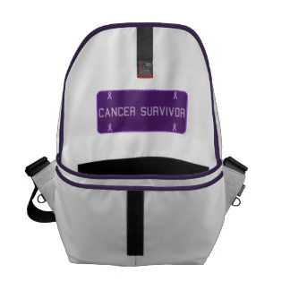 Purple License Plate Survivor Messenger Bag