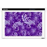 "Purple & Light Blue Retro Flowers & Swirls Design 17"" Laptop Skin"