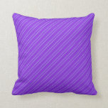 [ Thumbnail: Purple & Light Blue Stripes/Lines Pattern Pillow ]
