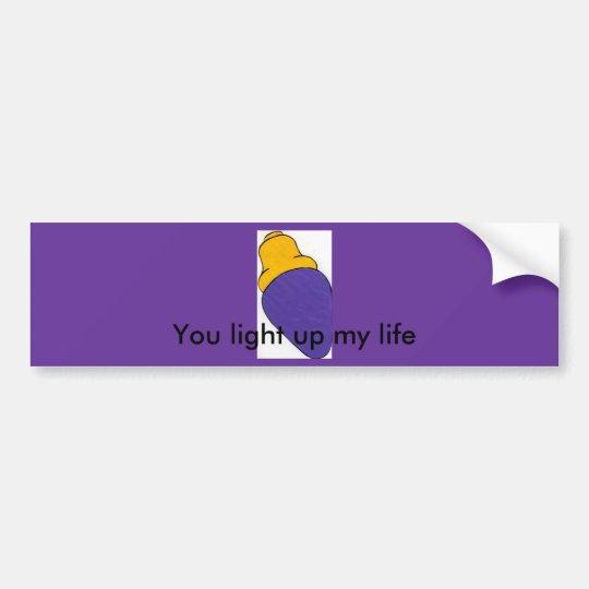 Purple light bulb bumper sticker