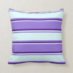 [ Thumbnail: Purple, Light Cyan, and Indigo Colored Lines Throw Pillow ]