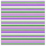 [ Thumbnail: Purple, Light Cyan, Forest Green & Plum Stripes Fabric ]