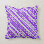 [ Thumbnail: Purple & Light Gray Colored Pattern Throw Pillow ]