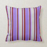[ Thumbnail: Purple, Light Grey, and Maroon Colored Lines Throw Pillow ]
