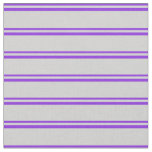 [ Thumbnail: Purple & Light Grey Lines Fabric ]