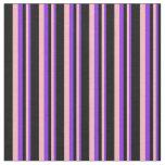 [ Thumbnail: Purple, Light Pink & Black Colored Stripes Fabric ]