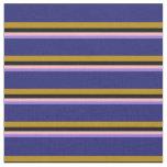 [ Thumbnail: Purple, Light Pink, Black, Dark Goldenrod & Blue Fabric ]