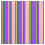 [ Thumbnail: Purple, Light Pink, Green & Dark Green Stripes Fabric ]