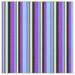 [ Thumbnail: Purple, Light Sky Blue, Green, Mint Cream & Black Fabric ]