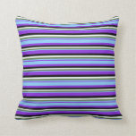 [ Thumbnail: Purple, Light Sky Blue, Green, Mint Cream & Black Throw Pillow ]