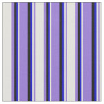 [ Thumbnail: Purple, Light Yellow, Blue & Black Colored Lines Fabric ]