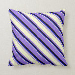 [ Thumbnail: Purple, Light Yellow, Blue & Black Colored Lines Throw Pillow ]