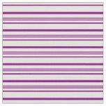 [ Thumbnail: Purple & Light Yellow Colored Stripes Fabric ]