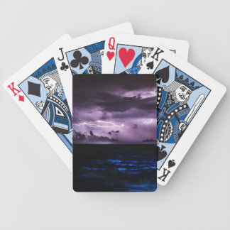 Purple Lightning at Night Bicycle Playing Cards