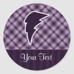 Purple Lightning Bolt Classic Round Sticker