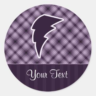 Purple Lightning Bolt Round Stickers