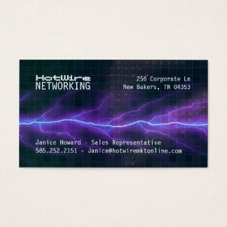 Purple Lightning Electricity Backdrop Business Card