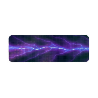 Purple Lightning Electricity Backdrop Label