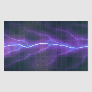 Purple Lightning Electricity Backdrop Rectangular Sticker