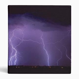 Purple Lightning in a Night Desert Thunder Storm Binder