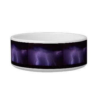 Purple Lightning in a Night Desert Thunder Storm Bowl