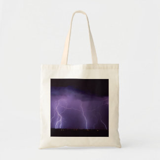 Purple Lightning in a Night Desert Thunder Storm Budget Tote Bag